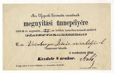 Meghívó az újpesti lóvasút megnyitására rendezett táncvigalomra, 1868
