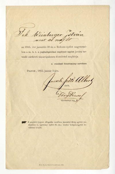 Meghívó a joghallgatók segélyegyletét támogató táncvigalomra, 1865