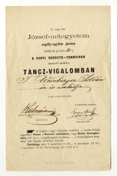 Meghívó a József-műegyetem segélyegylete javára rendezett táncvigalomra, 1866