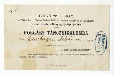 Belépti jegy polgári táncvigalomra a tisztviselő-nyugdíjalap javára, 1868