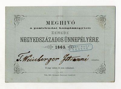 Meghívó a pest-budai hangászegylet negyedszázados ünnepélyére, 1865