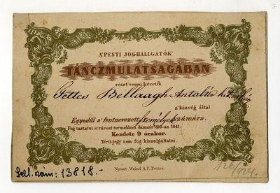 Meghívó a pesti joghallgatók táncmulatságára, 1841