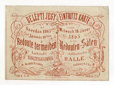 Belépti jegy táncvigalomra a Redout-ban, 1865