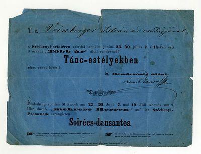 Meghívó táncestélyekre a Széchenyi-sétatérre, 1858