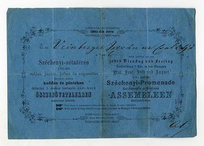 Meghívó összejövetelekre a Széchenyi-sétatérre, 1861