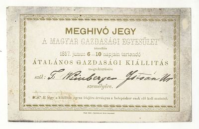 Meghívó az általános gazdasági kiállításra, 1857
