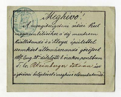 Meghívó a Margit-szigeti artézi kút megszemlélésére, 1867