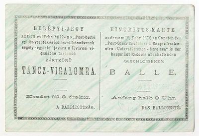 Belépti jegy jótékonysági táncvigalomra, 1876