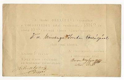 Meghívó technikusbálra, 1857