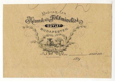 Tagsági jegy, Magyar Izr. Kézmű- és Földmivelési Egylet, 1890-es évek