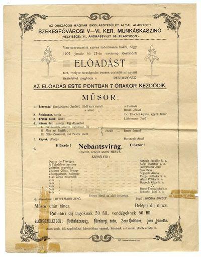 Az V.-VI. kerületi Munkáskaszinó előadásának műsora, 1907