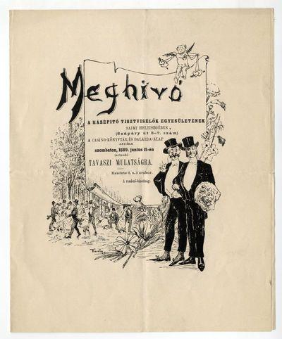 Meghívó a Házépítő Tisztviselők Egyesületének tavaszi mulatságára, 1889