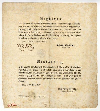 Meghívó a hivatalnokok fogyasztási egylete alapszabály-módosításáról szóló tanácskozásra, 1862