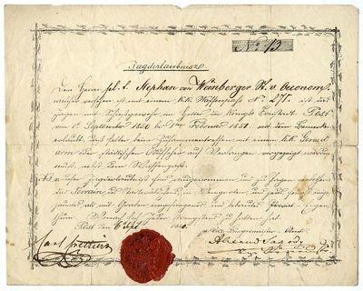 Vadászengedély Weinberger Istvánnak, 1850