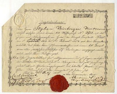 Vadászengedély Weinberger Istvánnak, 1851