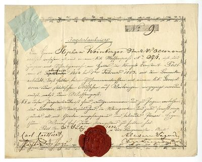 Vadászengedély Weinberger Istvánnak, 1852
