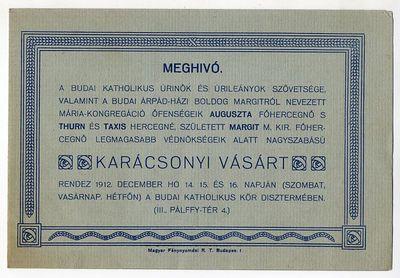 Meghívó karácsonyi vásárra, Budai Katolikus Úrinők és Úrileányok Szövetsége, 1912
