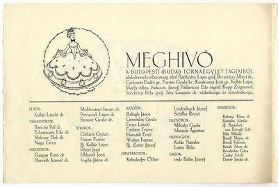 Meghívó a Budai Tornászbálra, 1914