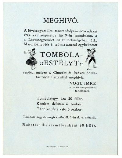 Meghívó tombolaestélyre, Lövészegyesület, 1913