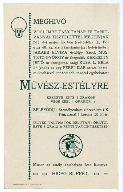 Meghívó művész-estélyre, Vogl Imre tánctanár és tanítványai, 1913
