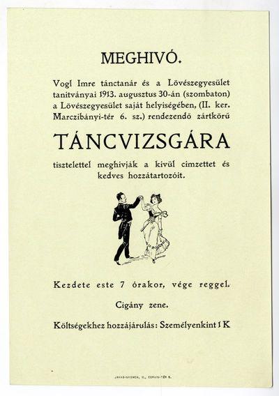 Meghívó táncvizsgára, Vogl Imre és a Lövészegyesület tanítványai, 1913