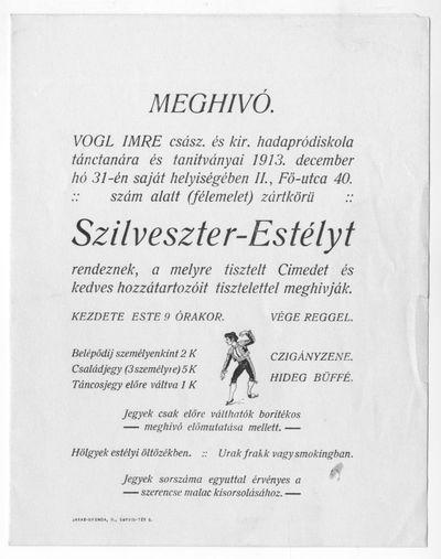 Meghívó szilveszter-estélyre, Vogl Imre tánctanár, 1913