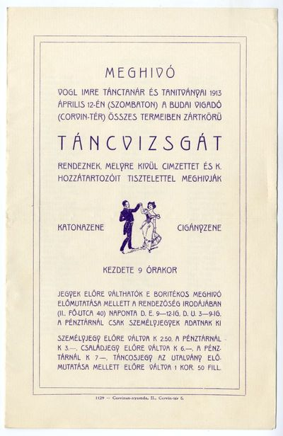 Meghívó táncvizsgára, Vogl Imre, Budai Vigadó, 1913