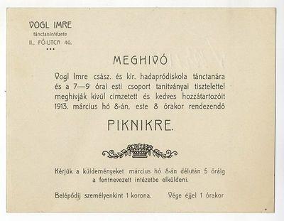 Meghívó piknikre, Vogl Imre, 1913