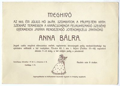 Meghívó jótékony célú zártkörű Anna-bálra, 1913