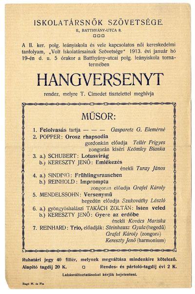 Meghívó hangversenyre, Iskolatársnők Szövetsége, 1913 január