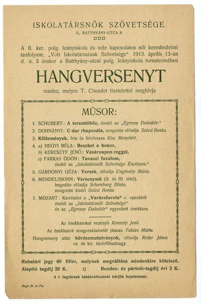 Meghívó hangversenyre, Iskolatársnők Szövetsége, 1913 április