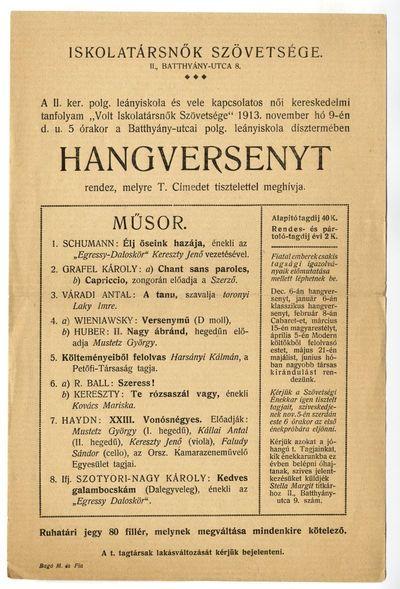 Meghívó hangversenyre, Iskolatársnők Szövetsége, 1913 november