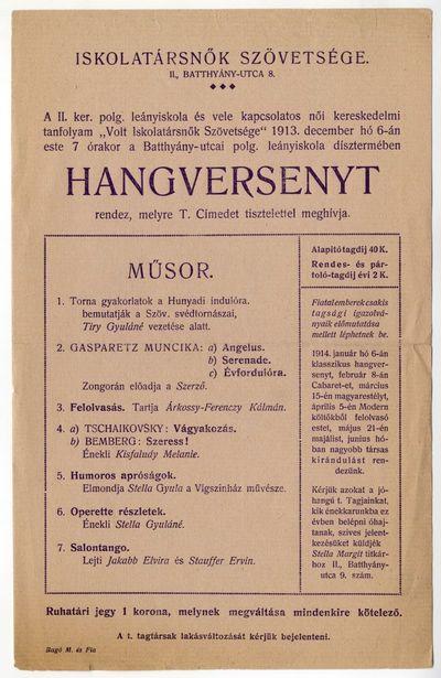 Meghívó hangversenyre, Iskolatársnők Szövetsége, 1913 december