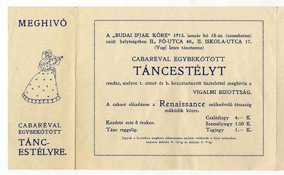 Meghívó cabaréval egybekötött táncestélyre, Budai Ifjak Köre, 1913