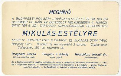 Meghívó Mikulás-estélyre, Budapesti Polgári Lövészegyesület, 1913