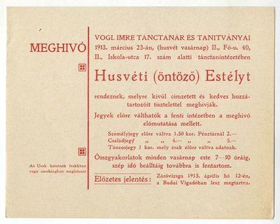 Meghívó Húsvéti (öntöző) Estélyre, Vogl Imre, 1913