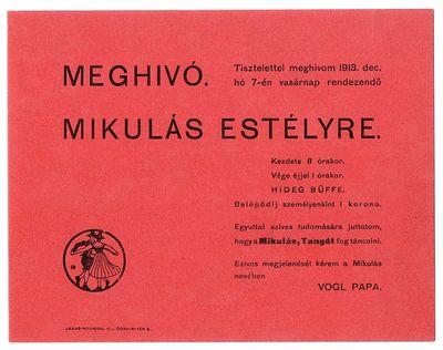 Meghívó Mikulás estélyre, Vogl papa, 1913