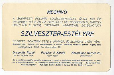 Meghívó Szilveszter-estélyre, Budapesti Polgári Lövészegyesület, 1913