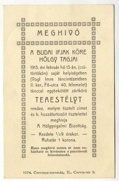 Meghívó teaestélyre, Budai Ifjak Köre hölgytagjai, 1913