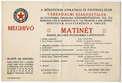 Meghívó matinéra, Műegyetemi Atlétikai és Football Club, 1913