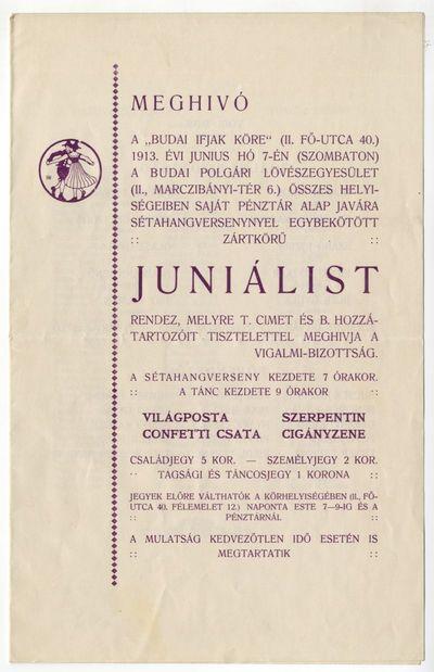 Meghívó juniálisra, Budai Ifjak Köre, 1913