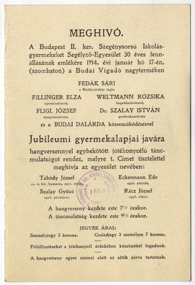 Meghívó jótékonysági hangversenyre és táncmulatságra, Budai Vigadó, 1914