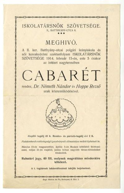 Meghívó cabaréra, Iskolatársnők Szövetsége, 1914