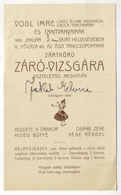 Meghívó záróvizsgára, Vogl Imre tánctanár, 1914