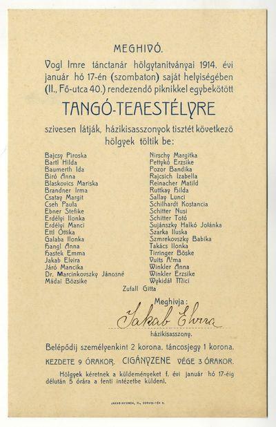 Meghívó piknikkel egybekötött tangó-teaestélyre, Vogl Imre hölgytanítványai, 1914