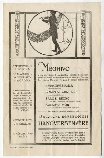 Meghívó tánccal egybekötött hangversenyre, Erkel Ferenc dalkör, 1914