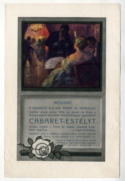 Meghívó Cabaret-estélyre, III. ker-i Torna- és Vívóegylet, 1914