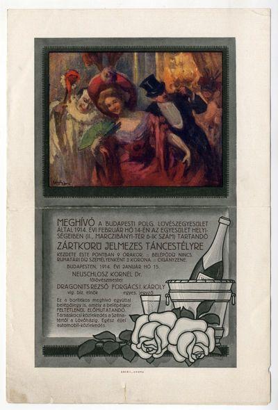 Meghívó jelmezes táncestélyre, Budapesti Polgári Lövészegyesület, 1914
