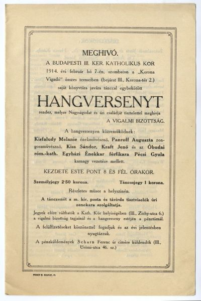 Meghívó tánccal egybekötött hangversenyre, III. ker-i Katholikus Kör, 1914