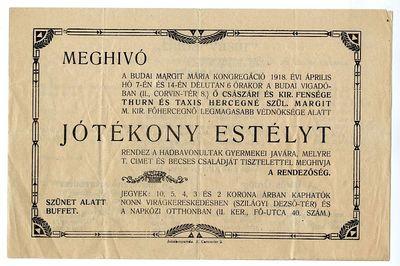 Meghívó jótékony estélyre, Budai Margit Mária-kongregáció, 1918